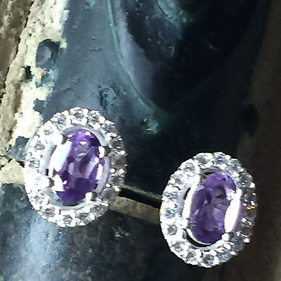 Genuine 2ct Amethyst White Sapphire 925 Solid Sterling Silver Stud Earrings 10mm