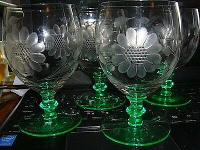 Set of 4 Rare Vintage Hughes Cornflower Wine Glasses Goblets with Green Stems