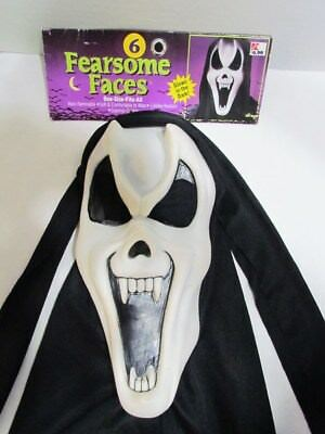 Fun World Fearsome Faces Halloween Mask & Header Card Glow Ghost Vampire Vintage