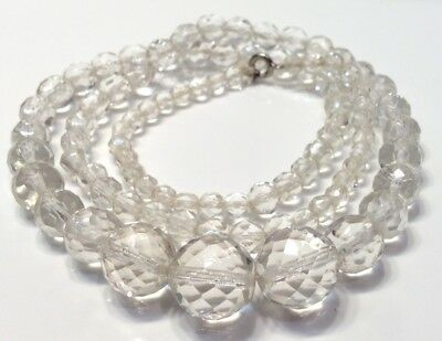 """Vintage Faceted Cut Clear Glass Graduated Beads Necklace 12"""" Long"""
