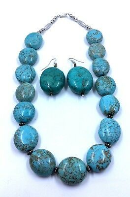 Silver and Turquoise Howlite Necklace/Earrings Set Native American *H10