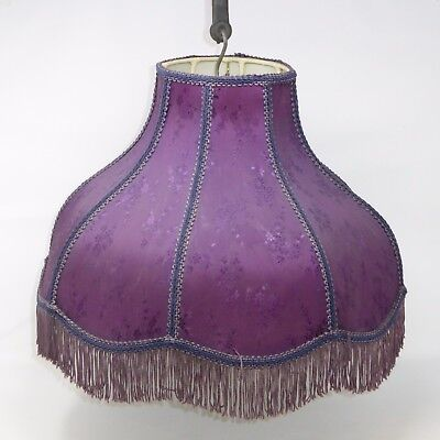 Victorian Style Lamp Shade Purple Floral With Purple Fringe Scalloped