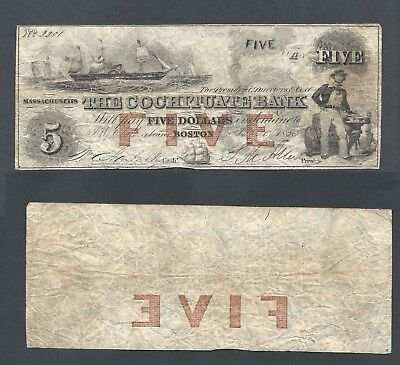 1853 The Cochituate Bank $5 Dollars Obsolete US Currency Massachusetts