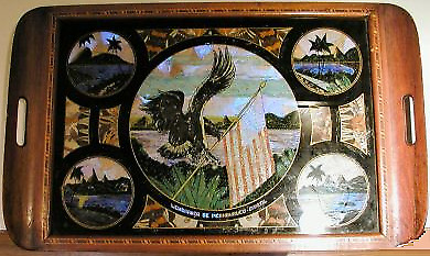 Antique Butterfly Wing Serving Tray American Flag Scene