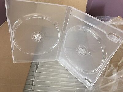 14 mm Double DVD Case Movie Box New Clear 3-pack BRAND NEW HOLDS 2 DISC