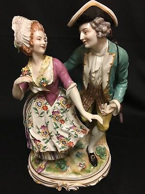 """Large Porcelain Colonial Courting Couple Figurine, """"Dresden/Meissen Style"""""""