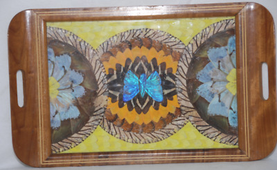 Butterfly Wing Serving Tray-Inlay Wood With Glass