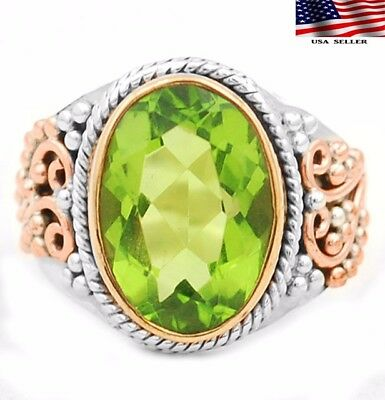 6CT Three Tone-Peridot 925 Solid Sterling Silver Ring Jewelry Sz 8
