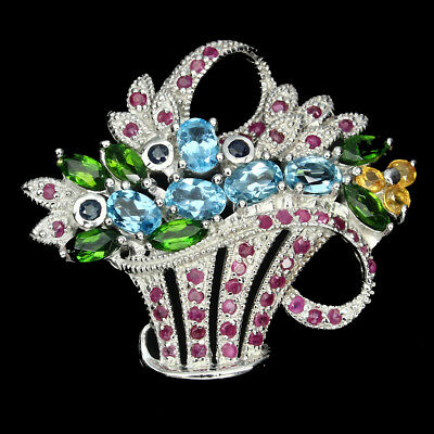 Gorgeous Swiss Blue Topaz Ruby Sapphire Gems 925 Sterling Silver Flower Brooch