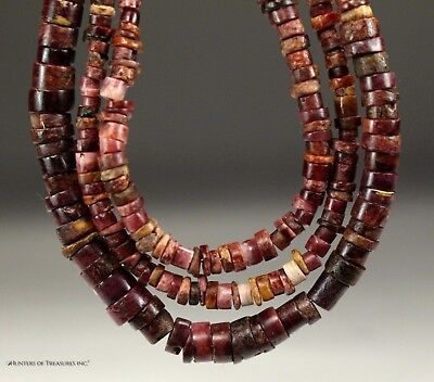 180) Good Quality Pre Columbian Moche Chimu Purple Spondyllus Beads Necklace