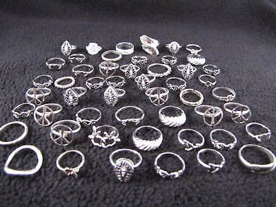 Lot of 50 Vintage Silver Pattern Design Fashion Rings