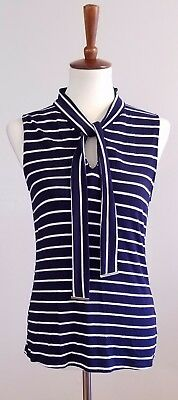 New York & Co 7th Avenue Design Blue White Stripe Sleevess Knit Top Size Medium