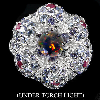 Amazing Round 7 Mm Hot Rainbow Fire Opal Ruby Tanzanite 925 Sterling Silver Ring