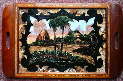 Inlaid Wood Tray w/ Butterfly Wings & Reverse Painted Under Glass