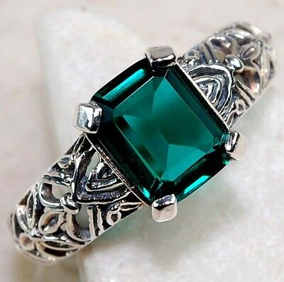 2CT Emerald Quartz 925 Solid Sterling Silver Art Deco Filigree Ring Jewelry Sz 7