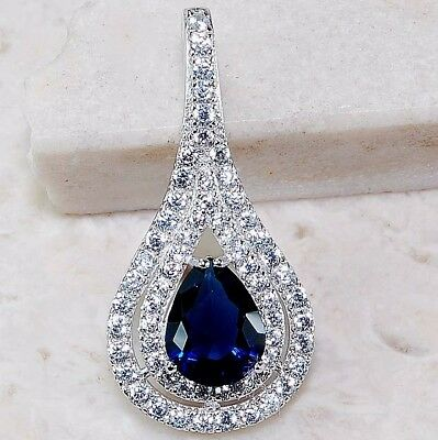2CT Blue Sapphire & White Topaz 925 Solid Sterling Silver Pendant Jewelry