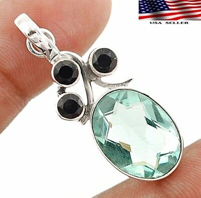 "10CT Aquamarine 925 Solid Genuine Sterling Silver Pendant Jewelry 1 1/2"" Long"