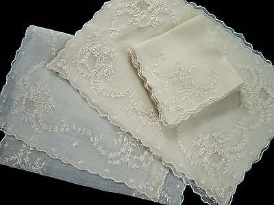 15pc Antique VTG Pina Linen Embroidered Madeira Style Placemats Napkins Runner