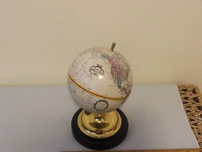 """Vintage Small 6"""" in diameter World Replogle Globe with Brass Base on Wood!"""