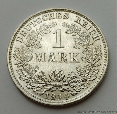 1914-E Germany 1 Mark .900 Silver Uncirculated Coin