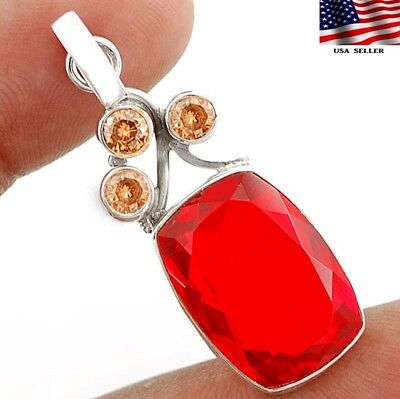 "24CT Fire Garnet 925 Solid Genuine Sterling Silver Pendant Jewelry 1 2/3"" Long"