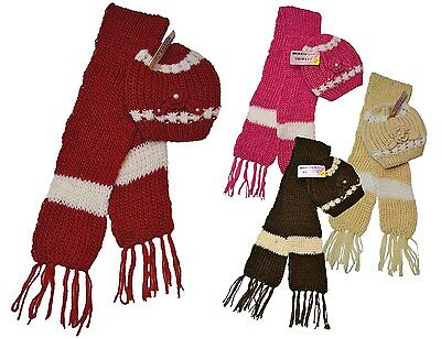 New Womens Hat And Scarf Set Chunky Knit Beautiful 4 Colours Ladies Girls Gift