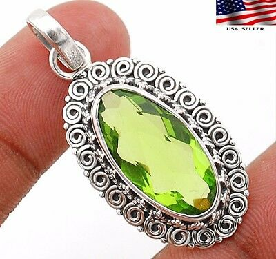 "8CT Peridot 925 Solid Sterling Silver Pendant Jewelry 1 1/2"" Long"