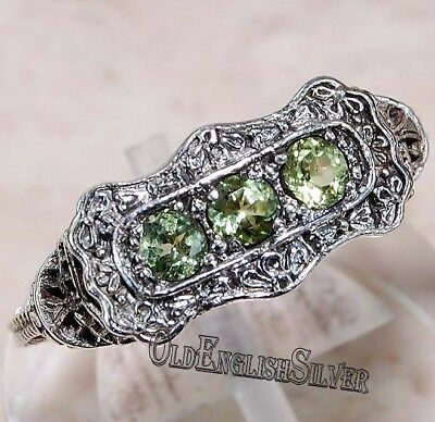 1CT Peridot 925 Solid Sterling Silver Art Deco Filigree Ring Jewelry Sz 6