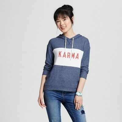 "Well Worn Navy Blue ""Karma"" Soft Brushed Leisure Pullover Sweatshirt Size XS NEW"