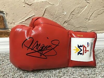 MANNY PACQUIAO SIGNED AUTO RED MP LEFT BOXING GLOVE PSA DNA Mayweather PROOF