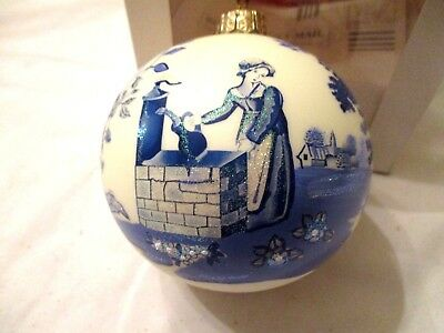 "Mib Spode 4"" Mouth Blown Christmas Ornament Girl At Well, Blue Room Collection"