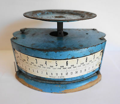 Vintage Swiss Scale Cast Iron Wood Base Brevet Corgemont Heavy at 5 lbs