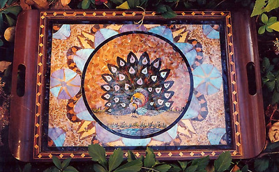 Brazil Inlay Wood Art Deco Peacock Butterfly Wing Tray