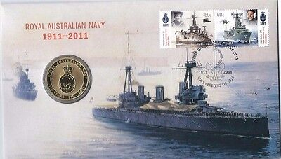 2011 $1 UNC Royal Australian Navy Stamp and Coin Cover PNC