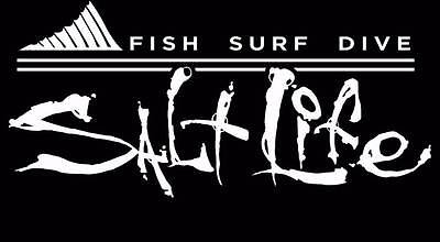 New SALT LIFE Signature FIN Car Window Decal Beach Sticker UV Vinyl - White