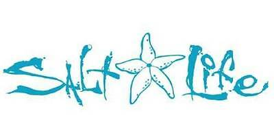 New SALT LIFE Signature STARFISH Car Window Decal Beach Sticker UV Vinyl - Teal