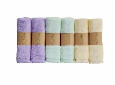 "6-Pack 100% Natural Bamboo Baby Washcloths 10""X10"" Ultra-Soft, Super Absorbent"