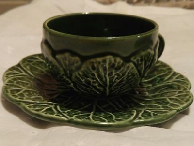 Bordallo Pinheiro Cabbage Leaves Three Cups and Saucers majolica Portugal