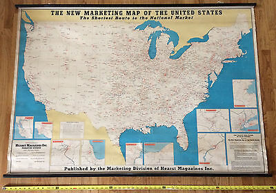 RARE & HUGE 1942 UNITED STATES MAP by HEARST MAGAZINES. Pull Down Canvas 61 x 42