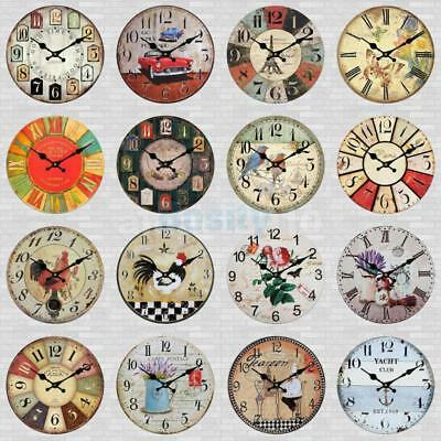 Wall Clock Wooden Rustic Retro Shabby Chic Home Kitchen Decor Art Gifts 25 Style