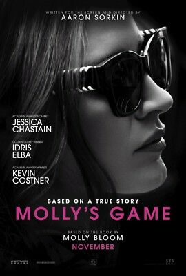 MOLLY'S GAME great original 27x40 D/S movie poster (s01)