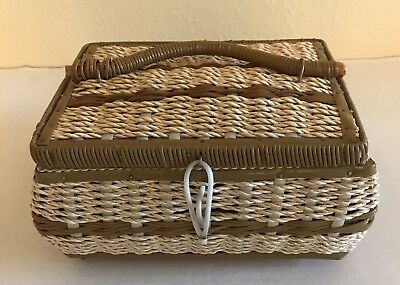 Vintage Sewing Embroidery Basket Wicker Tan Brown Satin Lined Unbranded