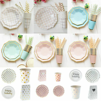 Disposable Tableware Set Plates Cups Straw for Christmas Wedding Birthday Party
