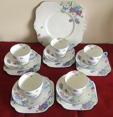 Vintage 1930's Art Deco Colclough Hand Painted Tea Set - 16 Pieces