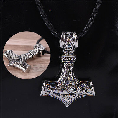 Myth THOR'S HAMMER Norse Magick Mjolnir Viking Pendant Genuine Leather Necklace@