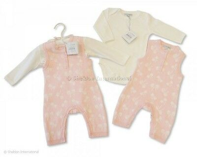 Baby Girls. Pink. Knitted. Bow Print Romper. Cream Body Suit. 3-6 Months.