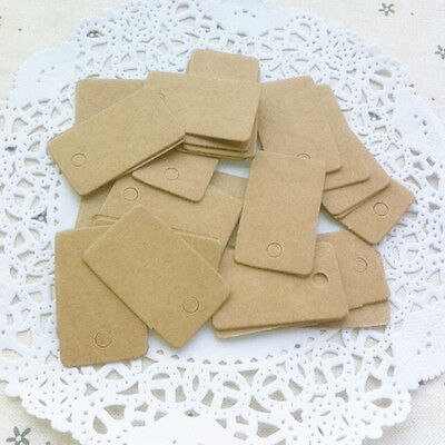 100x Kraft Paper Wedding Party Gift Card Rectangle Label Blank Luggage Tags PH