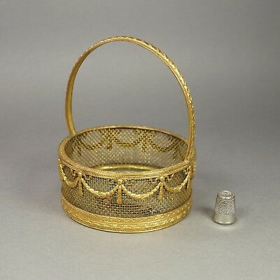 Antique French Empire Style Gilt Basket Hand Painted Silk Butterfly Base 1910