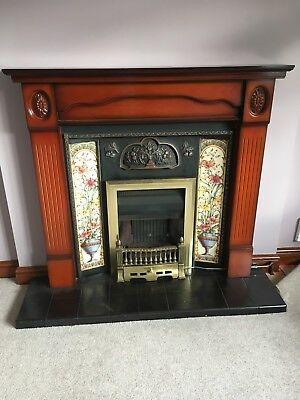 Cast Iron Fire Surround and wooden mantle piece  (gas fire if you want it)
