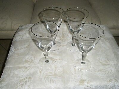 Vintage Fostoria Wine Glasses Set of 4 Silver Rim Tall 7 Inches High